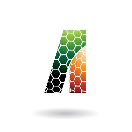Illustration of Green and Orange Letter A with Honeycomb Pattern isolated on a White Background