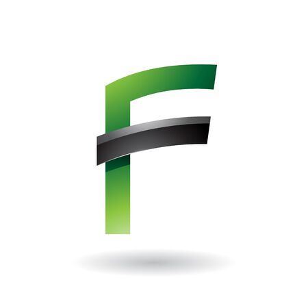 Illustration of Green Letter F with Black Glossy Stick isolated on a White Background