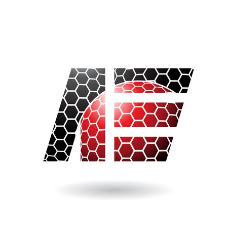 Illustration of Black and Red Dual Letters of A and E with Honeycomb Pattern isolated on a White Background