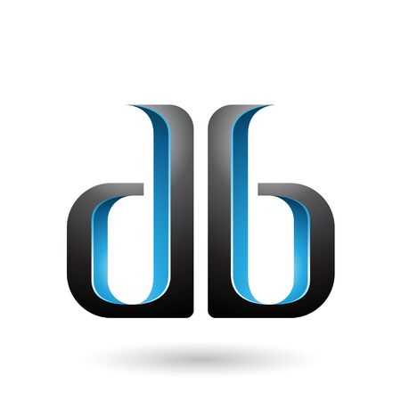 Illustration of Blue and Black Double Sided D and B Letters isolated on a White Background