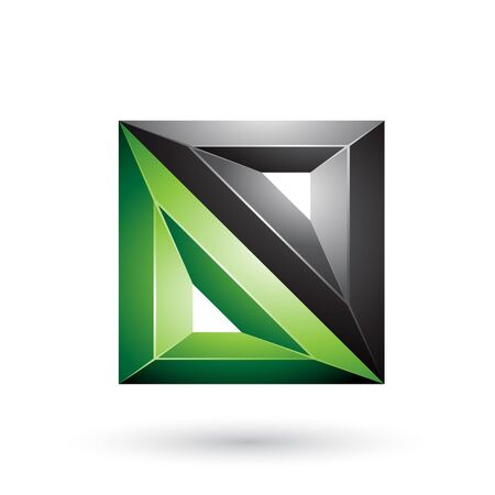 Illustration of Black and Green 3d Geometrical Embossed Triangles and Square Shape isolated on a White Background