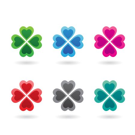Illustration of Abstract Heart Shaped Four Leaf Clover isolated on a white background 写真素材 - 129956636