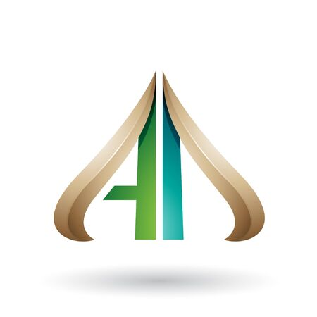 Illustration of Beige and Green Embossed Arrow-like Letters A and D isolated on a White Background