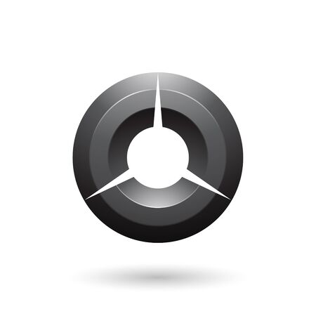 Illustration of Black Glossy Shaded Circle isolated on a white background