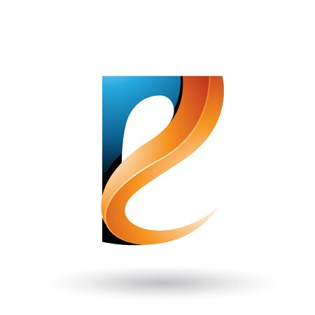 Illustration of Blue and Orange Glossy Curvy Embossed Letter E isolated on a White Background