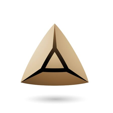 Illustration of Beige and Bold 3d Pyramid isolated on a white background
