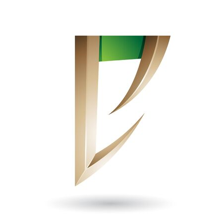 Illustration of Beige and Green Arrow Shaped Letter E isolated on a White Background