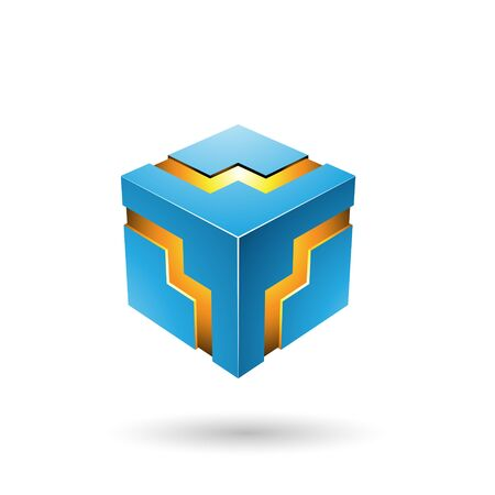 Illustration of Blue Bold Zigzag Cube isolated on a white background