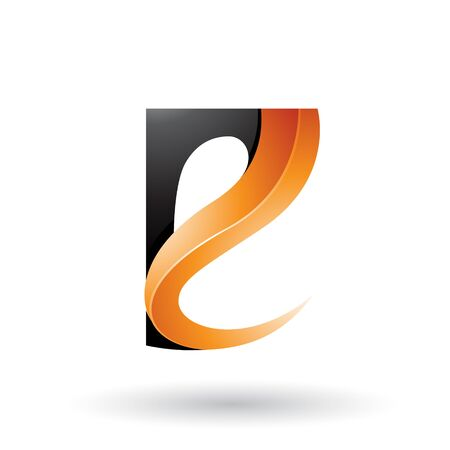 Illustration of Black and Orange Glossy Curvy Embossed Letter E isolated on a White Background Stok Fotoğraf