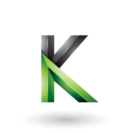 Illustration of Black and Green Glossy 3d Geometrical Letter K isolated on a White Background
