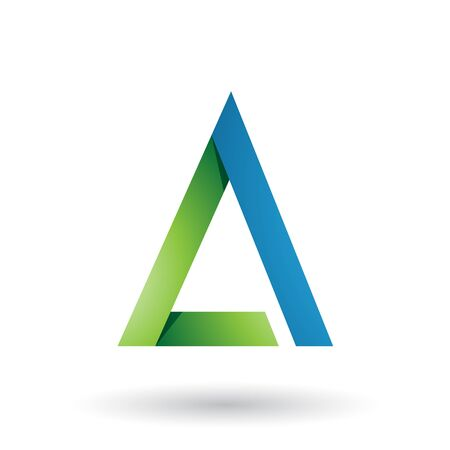 Illustration of Green and Blue Folded Triangle Letter A isolated on a White Background Stok Fotoğraf