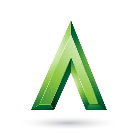 Illustration of Green Glossy Geometrical Letter A isolated on a White Background