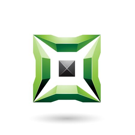Illustration of Green and Black Square with 3d Glossy Pieces isolated on a white background