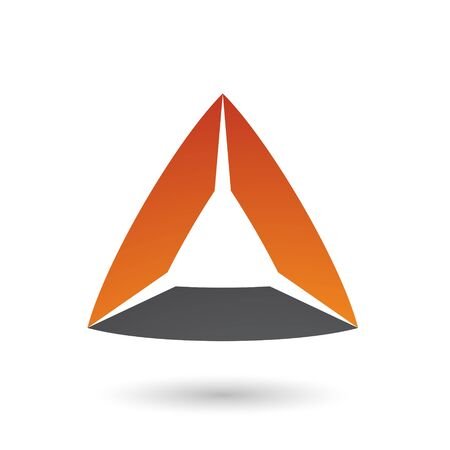 Illustration of Black and Orange Triangle with Bowed Edges isolated on a white background Stok Fotoğraf