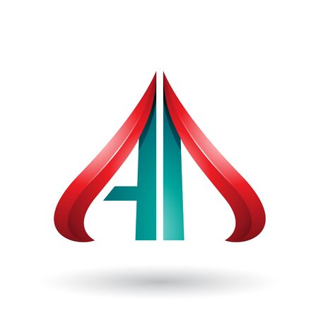 Illustration of Green and Red Embossed Arrow-like Letters A and D isolated on a White Background