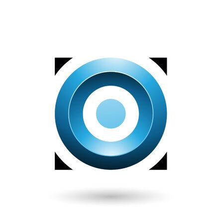 Illustration of Blue Glossy Circle in a Square isolated on a white background Stok Fotoğraf