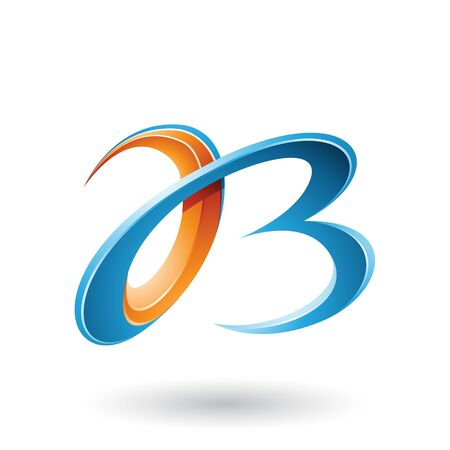 Illustration of Blue and Orange 3d Curly Letters A and B isolated on a White Background