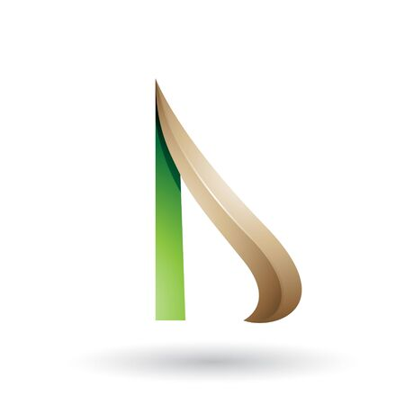 Illustration of Green and Beige Embossed Arrow-like Letter D isolated on a White Background