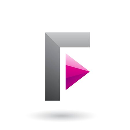 Illustration of a Grey Icon of Letter F with a Triangle isolated on a White Background