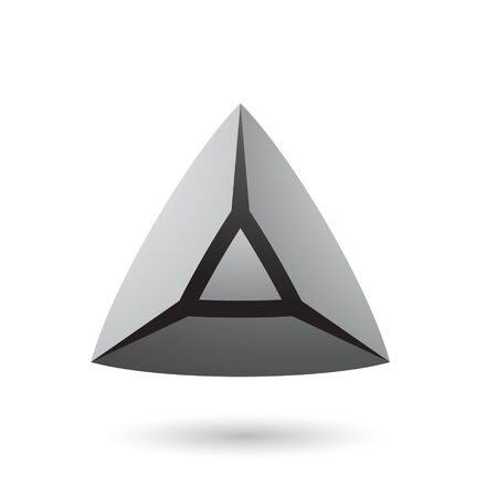 Illustration of Grey and Bold 3d Pyramid isolated on a white background
