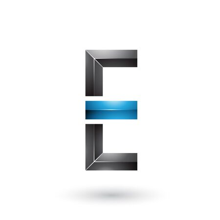 Illustration of Black and Blue Geometrical Glossy Letter E isolated on a White Background