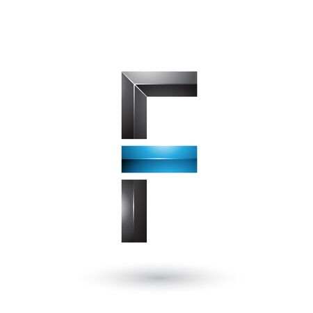 Illustration of Blue and Black Geometrical Glossy Letter F isolated on a White Background