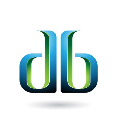 Illustration of Blue and Green Double Sided D and B Letters isolated on a White Background Stok Fotoğraf