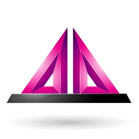 Illustration of Magenta 3d Pyramidical Embossed Shape isolated on a White Background