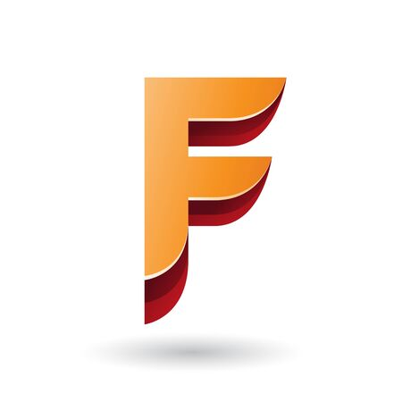 Illustration of a Layered 3d Orange Icon for Letter F isolated on a White Background