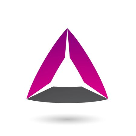 Illustration of Magenta and Black Triangle with Bowed Edges isolated on a white background