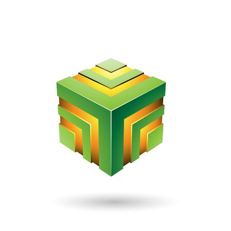Illustration of Green Bold Striped Cube isolated on a white background
