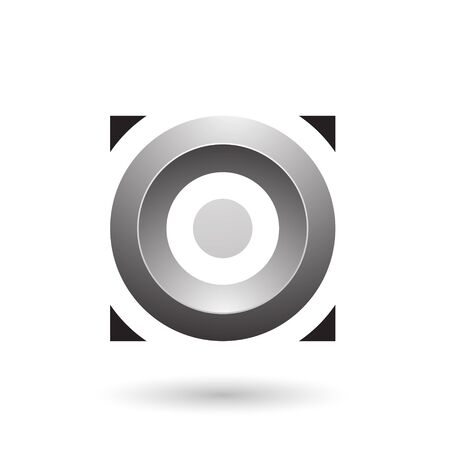 Illustration of Grey Glossy Circle in a Square isolated on a white background Stok Fotoğraf