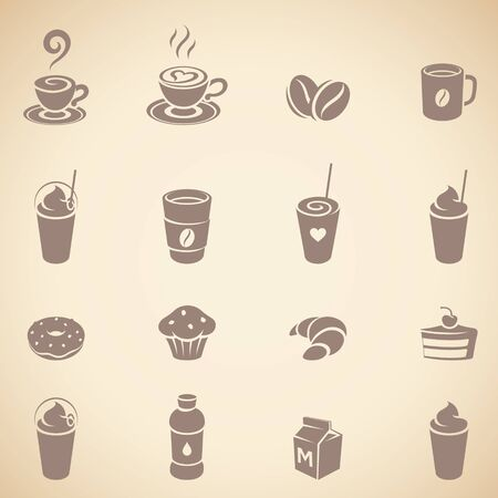 Illustration of Brown Coffee and Breakfast Icons on a Beige Background Imagens