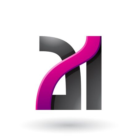 Illustration of Magenta and Black Bold Dual Letters A and I isolated on a White Background Stok Fotoğraf