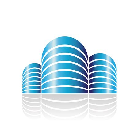 Design Concept of Shiny Cylindrical Residences Icon, Illustration Isolated on a White Background Stok Fotoğraf