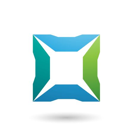 Illustration of Blue and Green Square with Spikes isolated on a white background