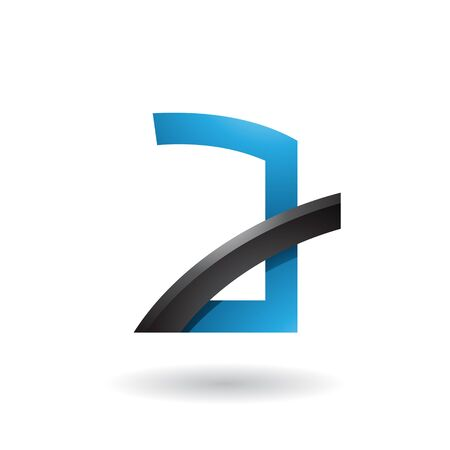 Illustration of Blue Letter A with Black Glossy Stick isolated on a White Background
