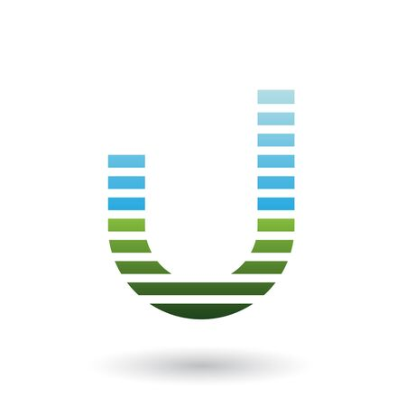 Illustration of Blue and Green Letter U Icon with Horizontal Thin Stripes isolated on a White Background