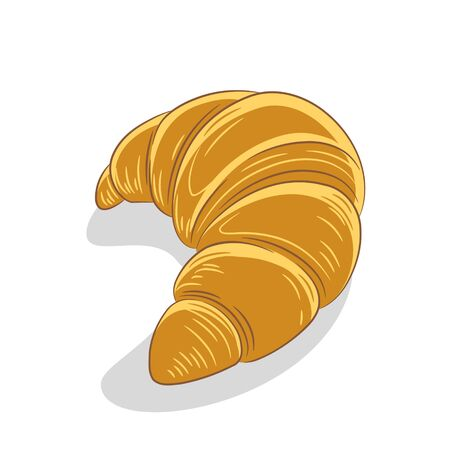 Illustration of Croissant Icon on a White Background