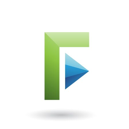 Illustration of a Green Icon of Letter F with a Triangle isolated on a White Background