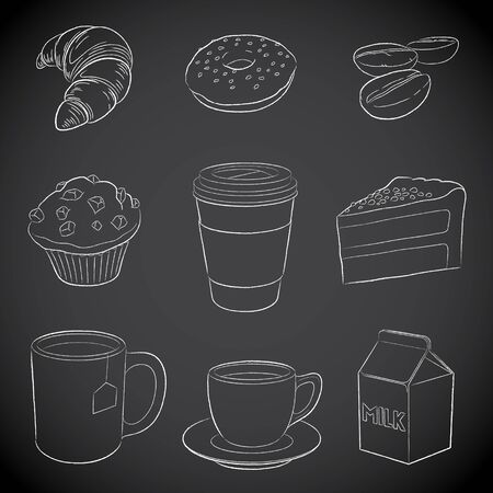 Illustration of Coffee and Breakfast Icons on a Blackboard Imagens