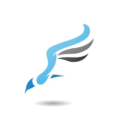 Design Concept of Long Wing Bird Icon, Illustration Isolated on a White Background