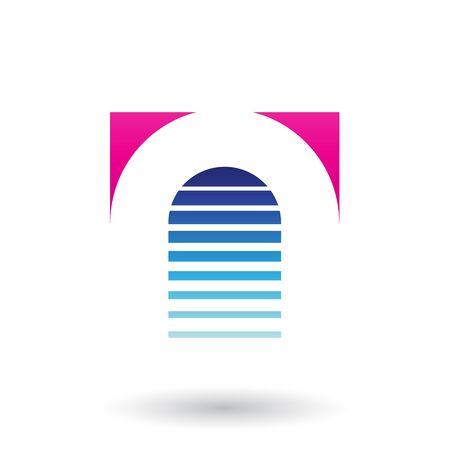 Illustration of Magenta and Blue Reversed U Icon for Letter A isolated on a White Background