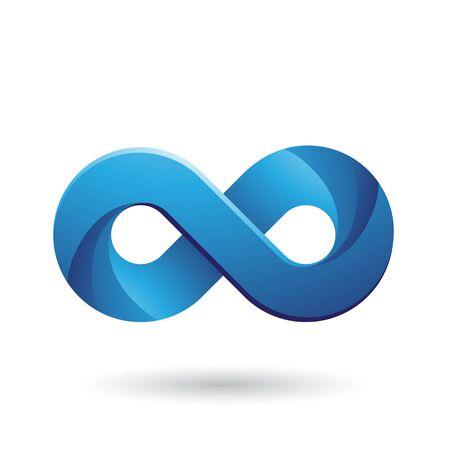 Ilustración del símbolo de infinito con tintes de color azul aislado sobre un fondo blanco. Foto de archivo