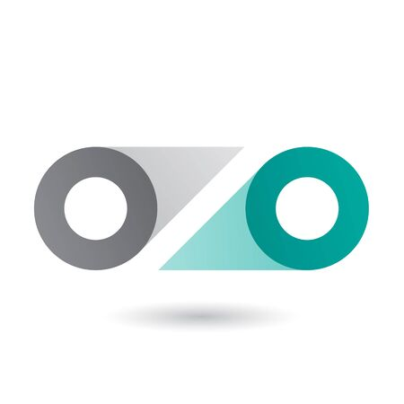 Illustration of Grey and Green Double Letter O isolated on a White Background