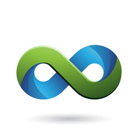 Illustration of Infinity Symbol with Blue and Green Color Tints isolated on a White Background