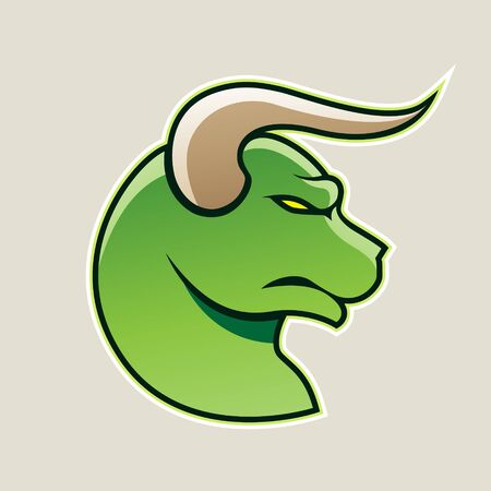 Illustration of Green Cartoon Bull Icon isolated on a White Background