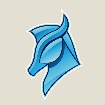 Illustration of Blue Glossy Horse Head Icon isolated on a White Background 스톡 콘텐츠