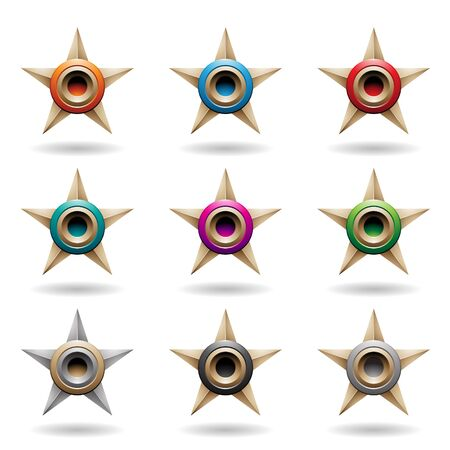 Illustration of Embossed Beige Stars with Colorful Round Shapes isolated on a White Background