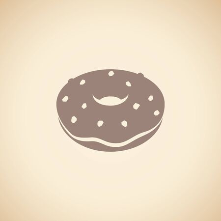 Illustration of Brown Doughnut Icon isolated on a Beige Background